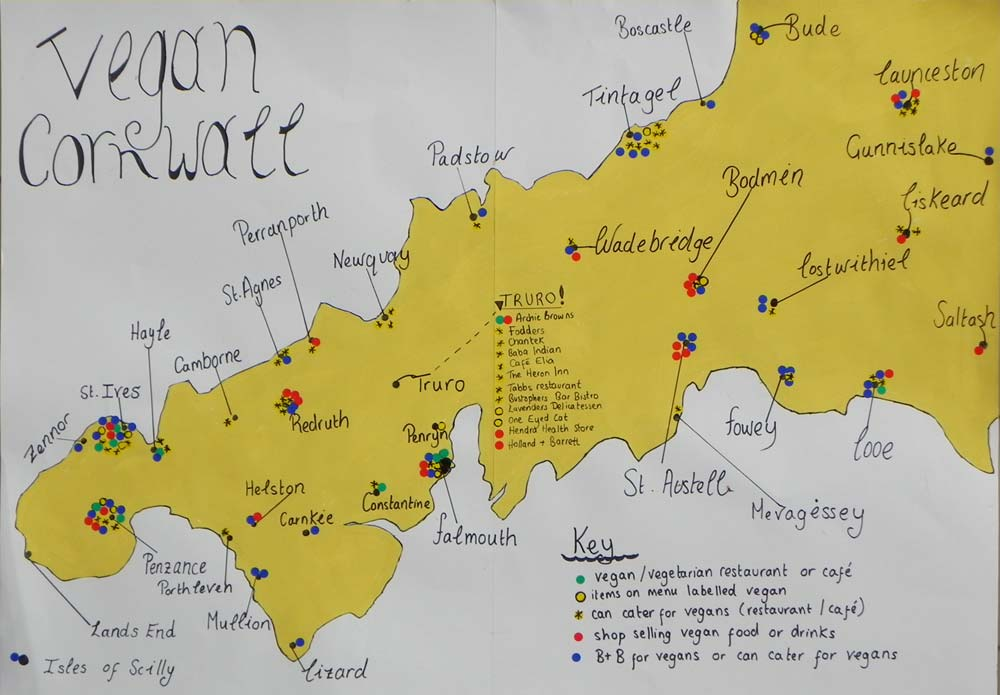Vegan map of Cornwall.